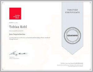 Berklee College Of Music Certificate + Jazz Improvisation